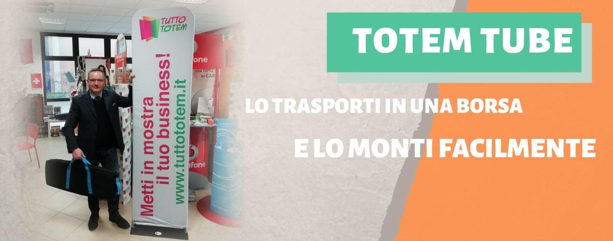 Totem personalizzato 'TUBE' con pratica borsa per il trasporto