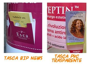 Accessori totem pubblicitari tasca Bip News e tasca pvc trasparente